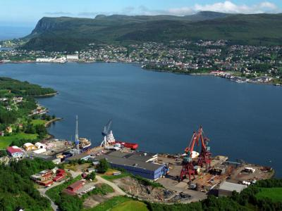 Kleven Verft as with Ulsteinvik in the background